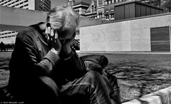 Shut out the world. (Neil. Moralee) Tags: street old city shadow people bw white toronto ontario canada man black monochrome sunshine lost mono nikon alone sitting outdoor candid fear crying attack neil shaddow mature panic depression terror depressed cry afraid scared alzheimers anxiety psychiatric illness mental suffer condition unwell d7100 moralee