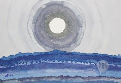 Rim of the Moon (original painting) (CrowRising) Tags: blue arizona sky cliff moon nature night ink watercolor utah rocks solitude purple desert grandcanyon gray violet canyon rockface moonrise highdesert moonlight gorge nightsky interiordesign nocturne homedecor fourcorners penandink officeart moonshine expressionistic colorist inkonpaper westernlandscape paintingonpaper abstractrealism waitingroomart southwesternlandscape paintingwithink solluckman onebrushtechnique moonovercanyon