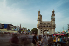 An evening at Charminar, Hyderabad. (Prithvi Mandava) Tags: street people india blur color photoshop photography long exposure market cc software pro nik hyderabad charminar lightroom efex