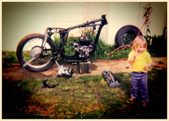 Bikes were so easy to pull to bits in those days. (F.W.G) Tags: boy super rocket a10 bsa