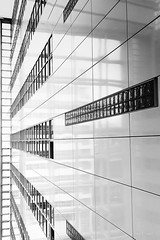 White wall - Transparent City Hall in Den Haag (mimo b. rokket) Tags: windows blackandwhite bw white reflection monochrome lines architecture frames cityhall fenster thenetherlands denhaag symmetry architektur sw monochrom spiegelung modernarchitecture rahmen abstractarchitecture geometrie symmetrie linien weis niederland modernearchitektur schwarzweis abstraktearchitektur geometrym