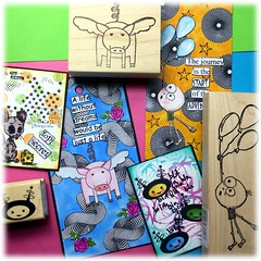 Yesterday's creations (Stampinkie) Tags: atc artisttradingcard rubberstamping arttag tagart distressink stampotique taglove vivalasvegastamps twinmarkers vlvs