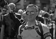Portrait, London LGBT Pride Parade, 25 June 2016 (chrisjohnbeckett) Tags: london londonist lgbt pride parade sunglasses shades lunettesnoires bw blackandwhite monochrome leather street urban timeout chrisbeckett canonef24105mmf4lisusm photojournalism global piccadilly