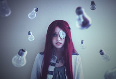 Telekinesis (catchildsarah) Tags: light sarah lights eyes crystals blueeyes lightbulbs surreal pearls redhead wig eyeshadow psychic eyepatch curio steampunk telekinesis clockhands militaryjacket fauxpearls trippnyc andyy dreampunk sarahtrickler andyychase curiologyonline