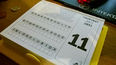 Project 365 #192: 110713 Stumped! (comedy_nose) Tags: puzzle unsolved deskcalendar project365 randomdeskobject