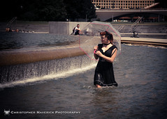 Fountain 21 (chrismaverick) Tags: woman sexy water fountain girl beauty umbrella model glamour pittsburgh photoshoot redhead parasol pinup clfsv pointstatepark
