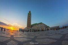 Mosque Hassan 2. (Karim Achalhi) Tags: life blue sky sun green art colors yellow architecture canon islam style morocco reality casablanca spirituality rise mosquehassan2