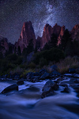 Heaven's Gate (Michael Bollino) Tags: sky rock night oregon centraloregon river stars landscape desert northwest towers smithrock smithrockstatepark
