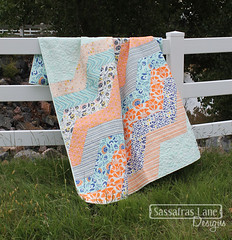 Wiley Way Quilt (Sassafras Lane Designs) Tags: orange art coral modern way diy aqua gallery pattern turquoise fabric wiley zigzags tule chevrons