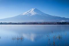 Lake Kawaguchiko (baddoguy) Tags: lake reflection japan horizontal volcano day sunny fujisan mtfuji kawaguchiko traveldestination