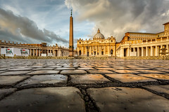 Saint Peter Square and Saint Peter Basilica in the Morning, Vatican City, Rome, Italy (ansharphoto) Tags: old city morning travel sky italy vatican rome roma building history tourism church monument saint skyline architecture clouds facade square religious town italian ancient europe italia european catholic cityscape cross cathedral roman basilica famous capital religion culture landmark christian cobblestones peter cupola dome obelisk sacred column christianity piazza cobbles pietro