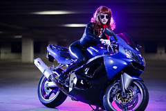 Cosplay Girl (Obtuse Photo) Tags: lighting blue hot cute sexy girl beautiful lights photo bea purple chick motorcycle rim spandex kawasaki obtuse strobes vision:outdoor=0735