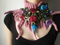 Elan ... knitted scarflette - dusted rose pink neck warmer with purple, blue, red, pink colorful crochet flowers (irregular expressions) Tags: pink flowers blue red flower green art floral scarf neck leaf colorful aqua purple cardinal handmade eggplant turquoise burgundy maroon unique crochet expressions magenta olive violet fuchsia indigo lavender plum lilac statement etsy wearable fiber crocheted cerise warmer neckwarmer irregular freeform flowery neckpiece neckwear scarflette irregularexpressions