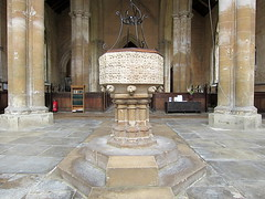 14C Decorated font and the nave facing east, the Church of St Michael, Swaton, Lincolnshire, England (Hunky Punk) Tags: churches medieval gothic naves fonts decorated st saint michael swaton lincolnshire england uk font lincs middleages spencermeans hunkypunk church