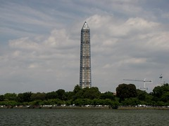 Washington Monument in scaffolding, viewed from across the Tidal Basin near the Jefferson Memorial (SchuminWeb) Tags: park west monument water metal stone mall river dc washington earthquake construction memorial day scaffolding ben nps stones district steel web parks columbia basin september national repair obelisk damage restored scaffold potomac service restoration daytime jefferson obelisks monuments washingtonmonument nationalparkservice georgewashington tidal restoring westpotomacpark scrim 2013 schumin schuminweb