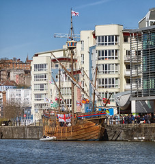 A certain juxtaposition (lovestruck.) Tags: old uk england architecture modern buildings bristol geotagged boat wooden sailing ship harbour masted geo:lat=51449243174778466 geo:lon=26058411598205566