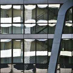[][][][]_/ / _a clear day (estiu87) Tags: abstract glass stairs reflections arquitectura graphic geometry minimal reflexes escales myw