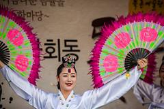 Seoul, Korea. (David Ducoin) Tags: pink portrait woman art fan asia traditional korea danse seoul kr southkorea