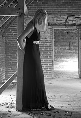 Just waiting (tim jg photography) Tags: light beautiful beauty lady barn model shoes waiting pretty highheels peace slim farm debris peaceful dressedup silence thinking blonde stunning sultry lookingdown eveninggown modelling dressed tranquil slender blackdress shapely unoccupiedfarm