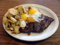Steak and Eggs (knightbefore_99) Tags: family food up breakfast lunch restaurant side champion sunny potato steak eggs burnaby fried big6