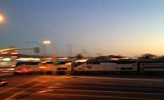 Amtrak Southwest Chief in motion (hupspring) Tags: railroad motion train evening diesel dusk engine amtrak intersection locomotive southerncalifornia orangecounty anaheim placentia traincrossing passengertrain southwestchief baggagecar amtk amtk182 amtk92 bnsfsanbernardinosub