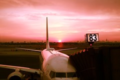 Early Morning Flight (Darkroom Illusion) Tags: sky tarmac sunrise airplane airport jet earlymorning aeroplane airtravel