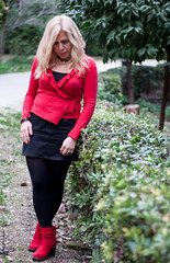 (Georgina ) Tags: trees red portrait sexy fashion necklace outdoor candid athens greece hedge blondehair prettygirl redtop shortskirt greekgirl blacktights redfingernails redleatherboots