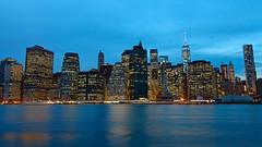 Lower Manhattan (RosLol) Tags: nyc blue newyork water architecture night cityscape skyscrapers manhattan hour lower acqua notte architettura resell grattacieli