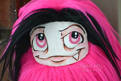 Pink and Black Custom Fluff (Scribble Dolls) Tags: pink cute art fur toy stuffed furry doll sweet handmade ooak critter small fluffy fluff plush softie fabric tiny stuffedanimal handpainted plushie faux handsewn artdoll cloth pocket creature sewn scribbledolls