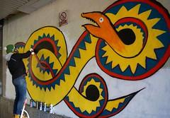 Snakes Alive! (McTumshie) Tags: england streetart art painting paint unitedkingdom float croydon femmefierce 15february2015 risegallery croydontakeover