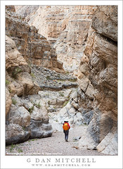 Desert Canyon Hiking (G Dan Mitchell) Tags: park woman fall nature landscape person emerson photographer desert canyon hike national backpack deathvalley hiker mitchell slot patty patricia narrow rugged