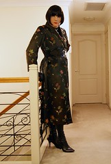 Oriental Inspired (2) (Furre Ausse) Tags: black leather asian belt long boots coat chinese gloves oriental satin brocade