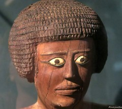 Wooden statue of a man with inlaid eyes (Merja Attia) Tags: alexandria museum ancient egypt woodenstatue ancientegypt assiut nationalmuseumofalexandria inlaideyes kherepscepter