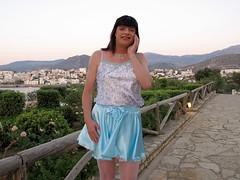 What to do? (Paula Satijn) Tags: blue white hot sexy girl smile happy shiny outdoor silk skirt tgirl crete transvestite satin miniskirt gurl