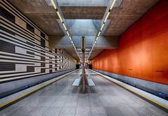 Oberweisenfeld (sarah_presh) Tags: red blackandwhite station underground munich mono metro platform hdr nikond750 oberweisenfeld