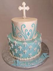 Baptism cake (stansbakery.com) Tags: christeningcake baptismcake religiouscake crosscake babybluecake tieredbaptismcake fancybaptismcake