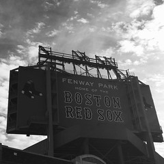 Fenway Park Sign (janice.sullivan12) Tags: park sky sign boston clouds blackwhite baseball stadium redsox ballgame fenwaypark