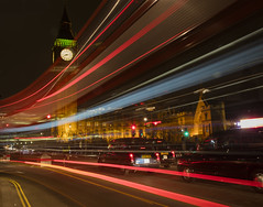 Westminster Light Trails: Parliament Square (Gnome Girl!) Tags: england bus london clock night bigben parliamentsquare nighttime motionblur lighttrails doubledecker