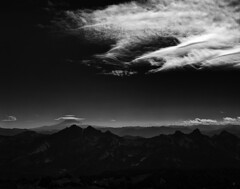 Top of the land / Bottom of the sky (Zeb Andrews) Tags: film clouds blackwhite washington pacificnorthwest 6x7 stark mtrainier analogphotography filmphotography pentax67