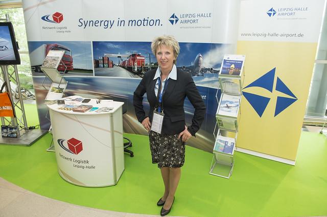 Gabriele Pokrandt at the Netzwerk Logistik stand