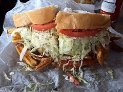 Sammich (kylewagaman) Tags: food restaurant pittsburgh pennsylvania frenchfries sandwich pa fries coleslaw iphone