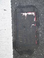 Two Fresh New Toynbee Tiles on 5th Ave 1375 (Brechtbug) Tags: street new york 2001 city nyc two white streets west up june st by corner dead idea bars theater cross traffic walk manhattan district under pedestrian pop fresh severino midtown made tiles ave planet ready commuter jupiter kubricks patch seventh avenue 5th toynbee named verna tar crumbling fifth sevy thirty possibly 37th reclusive 2016 resurrect philadelphian 06172016