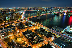 City Nights (Matthew Pugliese) Tags: nyc newyorkcity longexposure downtown brooklynbridge manhattanbridge eastriver lowermanhattan nycskyline cartrails nyclandmarks nycicons