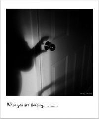 Image Noir - A Phantom at the door! (fotograf1v2) Tags: door shadow bw monochrome border horror nightmare eek phantom doorhandle greyscale cauchemar addedtext imagenoir