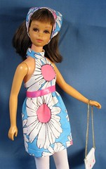 Francie Pink Center Daisy Dress (Debras Closet) Tags: pink blue mod francie dollclothes