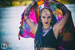 _MG_7481 (Deadly Darling DP) Tags: trees woman color wet water dreadlocks river dark model woods colorful gothic goth bellydancer jewelry crown bracelets bangles