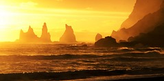 (Are Made Of This) (little_frank) Tags: light sunset wild orange sun beach nature beautiful beauty yellow wonder landscape iceland scenery waves sundown horizon surface fantasy geology wilderness dreamland atlanticocean middleearth seacliffs seastacks sweetdreams reynisdrangar