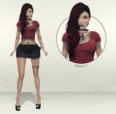 324 (Alhanna Ysabel) Tags: woman fashion tattoo pose hair necklace shoes head top skirt piercing zs pu asset everglow tbo slink purepoison tameless