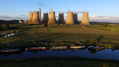 Ratcliffe on Soar Power Station (Sam Tait) Tags: ratcliffe soar river marina power station narrow wide beam narrowboat mooring cooling towers nav drone flight quadcopter dji phantom 3 standard nottinghamshire boat project nb fuzzy duck home live aboard canal
