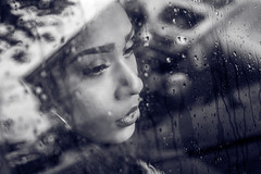 Lynn  (thoma.melanie) Tags: rain droplets woman female feminin femme feminine drop drops window car reflection reflextion riflessione reflexin spiegelung fenster fensterscheibe black white blackandwhite bw sw schwarz weiss face soul feeling feelings wonderful beauty beautiful women mujer frau young sad melanclico melancholisch nachdenklich pensive thoughtful contemplative besinnlich canon 6d love lovely thoma melanie mnster lynn venus lynnvenus girl 50mm rainy lluvia    mulheres chuva evocative